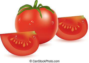 tomate, vecteur, tranches