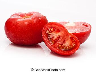 tomate, vegetal, corte, rojo