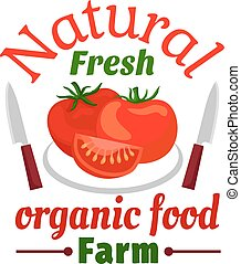 tomate, vegetal, orgânica, fazenda, alimento, emblema