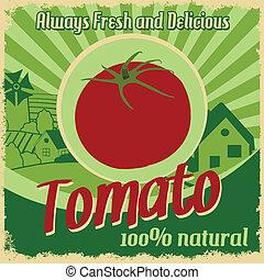 tomate, vendimia, granja, cartel
