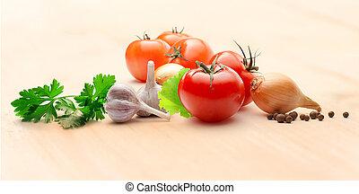 tomaten, lök, och, peppar