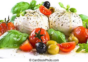 tomaten, mozzarella, kers, olijven, basilicum