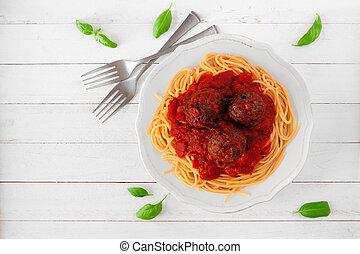 tomatensaus, meatballs, hout, boven, witte , spaghetti, aanzicht