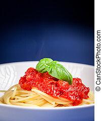 tomatensaus, spaghetti
