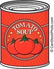 tomatensoep, groenteblik