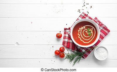 tomatensoep, met, dille, ruimte, voor, tekst, topview