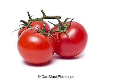 tomates ameixa, com, folhas, branco, fundo