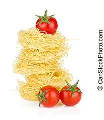 tomates cereja, e, macarronada