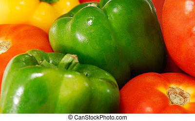 tomates, e, pimentas