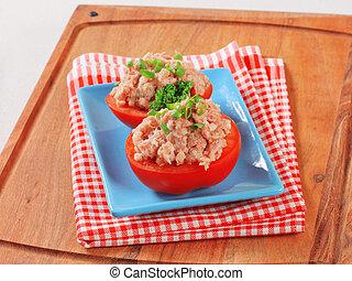 tomates, enchido, com, carne picada