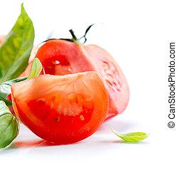 tomates frescos, aislado, en, un, fondo blanco