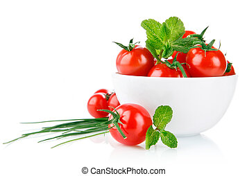 tomates frescos, com, folha verde