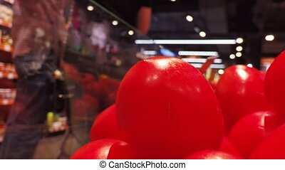 tomates, magasin, rouges