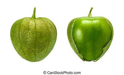 tomatillo, paar, vrijstaand, op wit