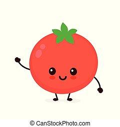 tomato., 幸せ, かわいい, ベクトル, 微笑