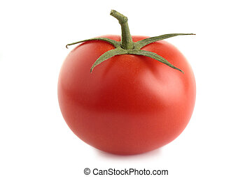 Tomato - An organic vine-ripened tomato, isolated on a white...