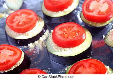 Tomato and aubergine bake - An aubergine, parmesan cheese...