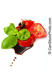 tomato and balsamic vinegar - Fresh tomato and basil over ...
