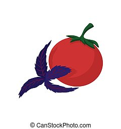 Tomato and basil icon, cartoon style