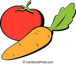 Tomato and carrot icon cartoon