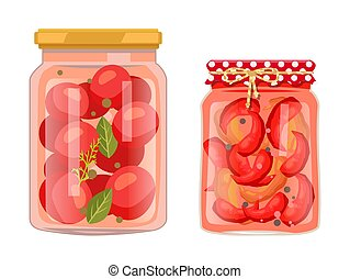 Tomato and Chili Pepper Pickled Salty Food Set - Tomato and ...