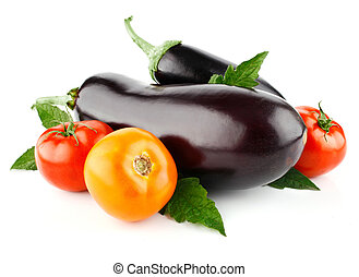 tomato and eggplant vegetable fruits isolated