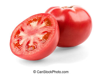 Tomato and half isolated on white background