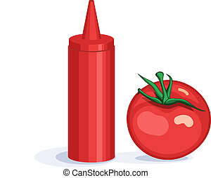 Tomato and ketchup dispenser - Colorful red tomato and...
