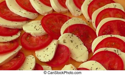 Tomato and mozzarella on a plate