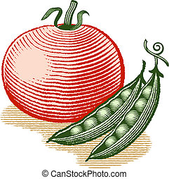 Vector illustration in woodcut style of a tomato and two pea pods.