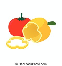 Tomato and pepper icon, cartoon style