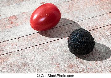 Tomato and truffle isolated