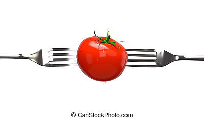 Tomato and two forks. Concept image, clipping paths
