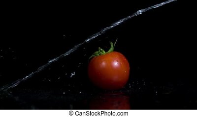 Tomato and water jet in slow motion
