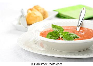 Tomato Basil Soup - Bowl of homemade hot basil and tomato ...