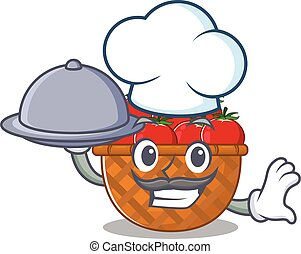 Tomato basket as a chef cartoon character with food on tray