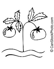 Tomato black line vector icon