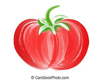 Tomato Brush Art - illustration of hand drawn tomato with ...