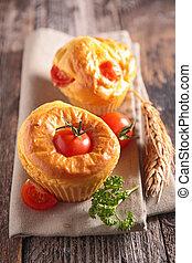 tomato cake, muffin