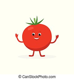 Tomato cartoon character isolated on white background. Healthy food funny mascot vector illustration in flat design.