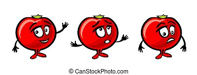 Tomato cartoon smiles, surprised and sad and waves his hand