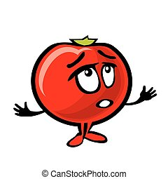 Tomato cartoon surprised. Color flat illustration
