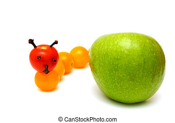 tomato caterpillar with a green apple