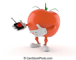 Tomato character pushing button on white background