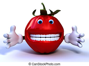 tomato character - red tomato charater on white background