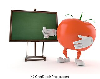 Tomato character with blank blackboard