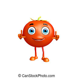Tomato character with pointing - 3D Illustration of Tomato...