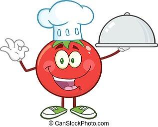 Tomato Chef Character - Tomato Chef Cartoon Mascot Character...