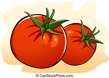 Tomato - Illustration of red tomato in red screen