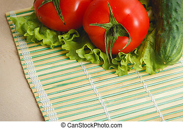 Tomato, cucumber vegetable and salad. Health care food